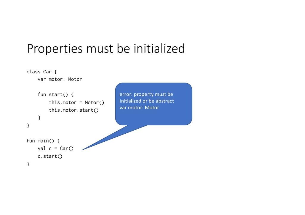 Properties must be initialized class Car { var ...