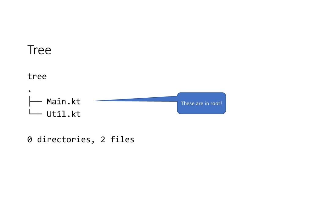 Tree tree . ├── Main.kt └── Util.kt 0 directori...