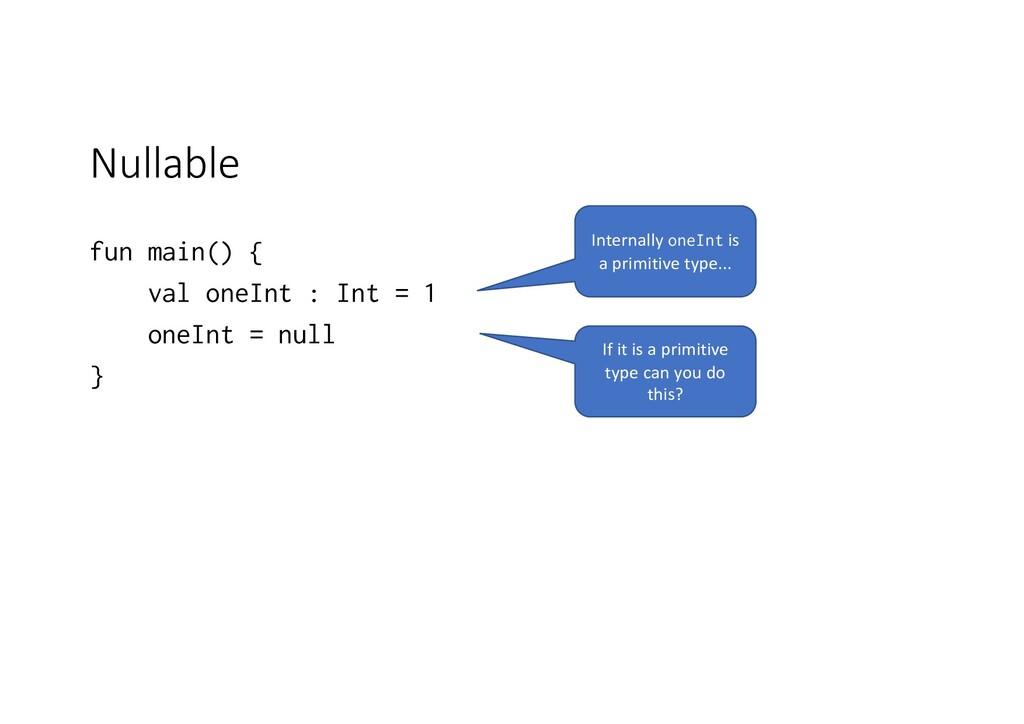 Nullable fun main() { val oneInt : Int = 1 oneI...