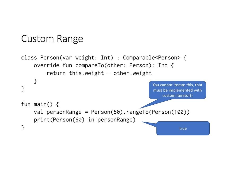 Custom Range class Person(var weight: Int) : Co...