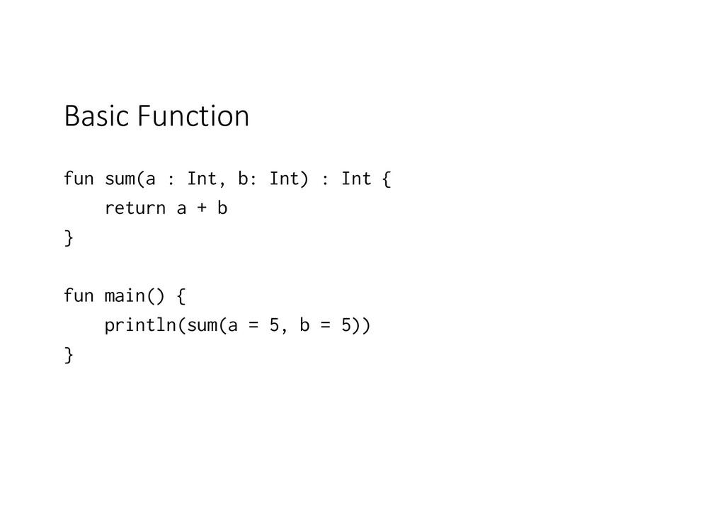 Basic Function fun sum(a : Int, b: Int) : Int {...