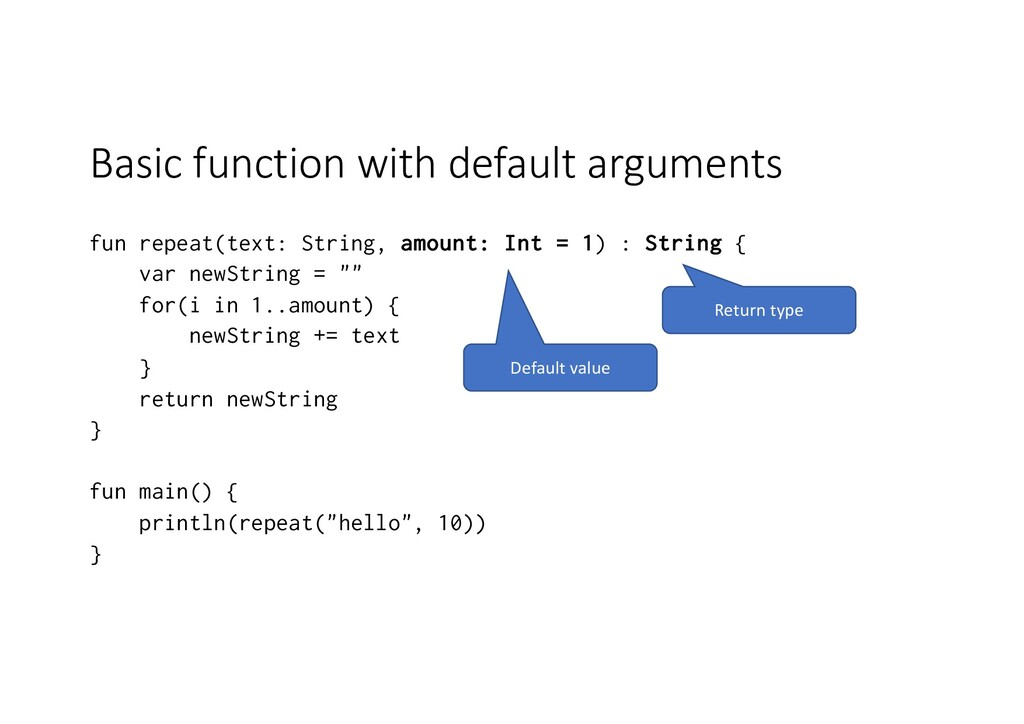 Basic function with default arguments fun repea...