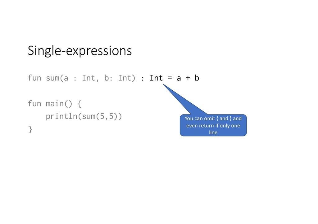 Single-expressions fun sum(a : Int, b: Int) : I...