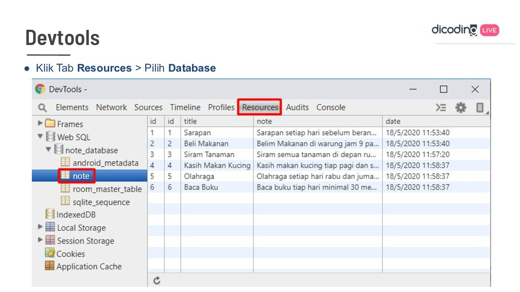 ● Klik Tab Resources > Pilih Database Devtools