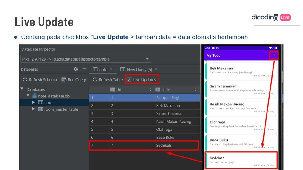 "● Centang pada checkbox ""Live Update > tambah d..."