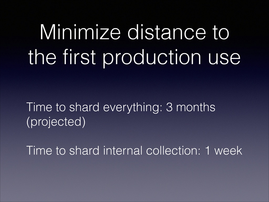 Minimize distance to the first production use T...