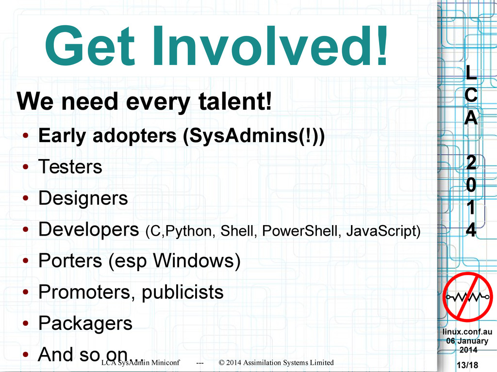 linux.conf.au 06 January 2014 LCA SysAdmin Mini...