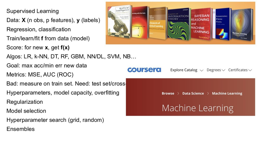 Supervised Learning Data: X (n obs, p features)...