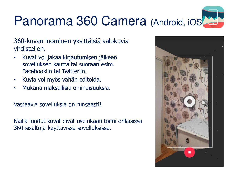 3D/panoraama/360 • Oman mobiililaitteen kamera ...