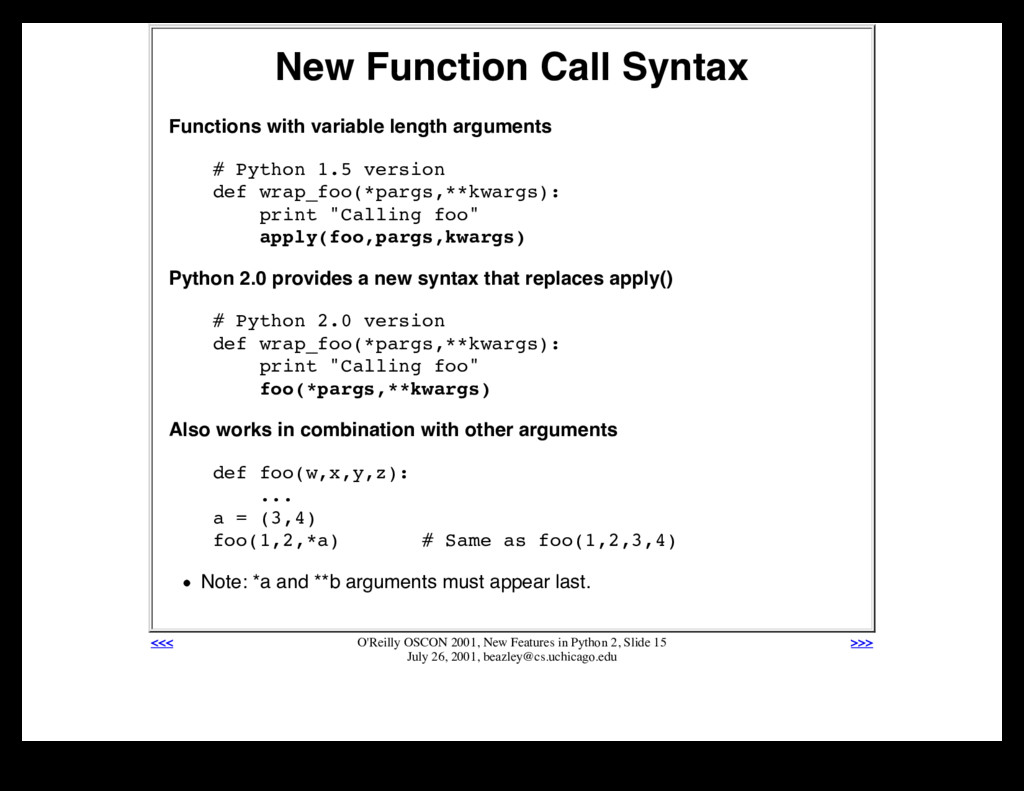 New Function Call Syntax Functions with variabl...