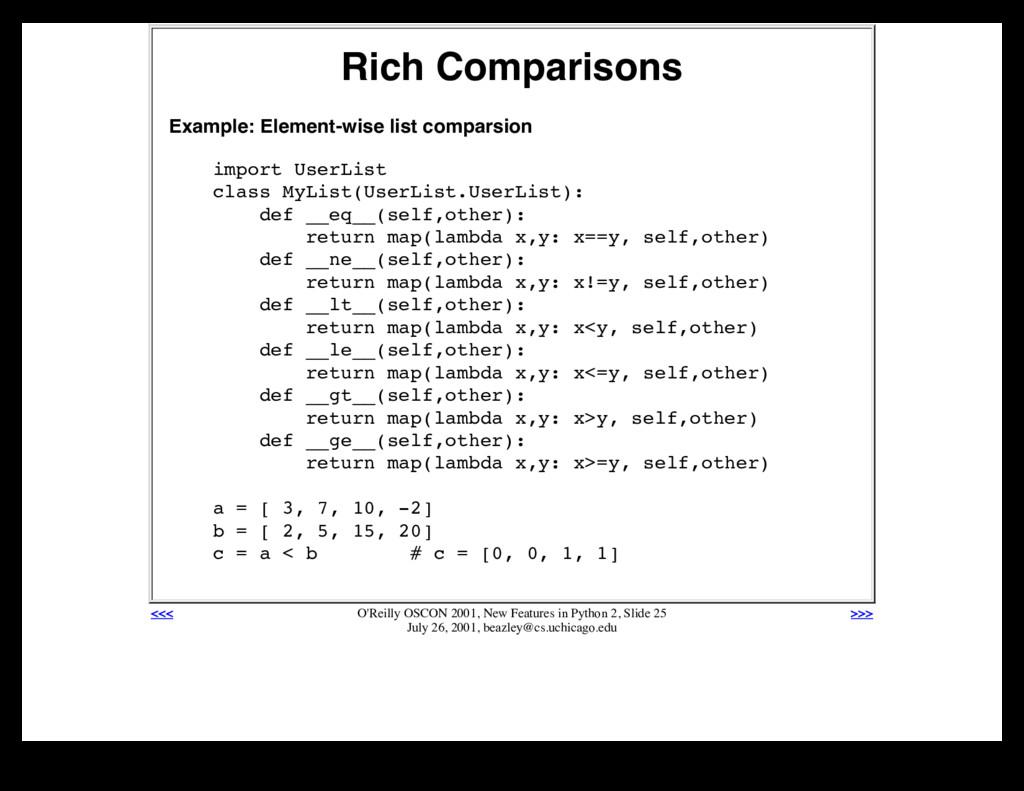 Rich Comparisons Example: Element-wise list com...