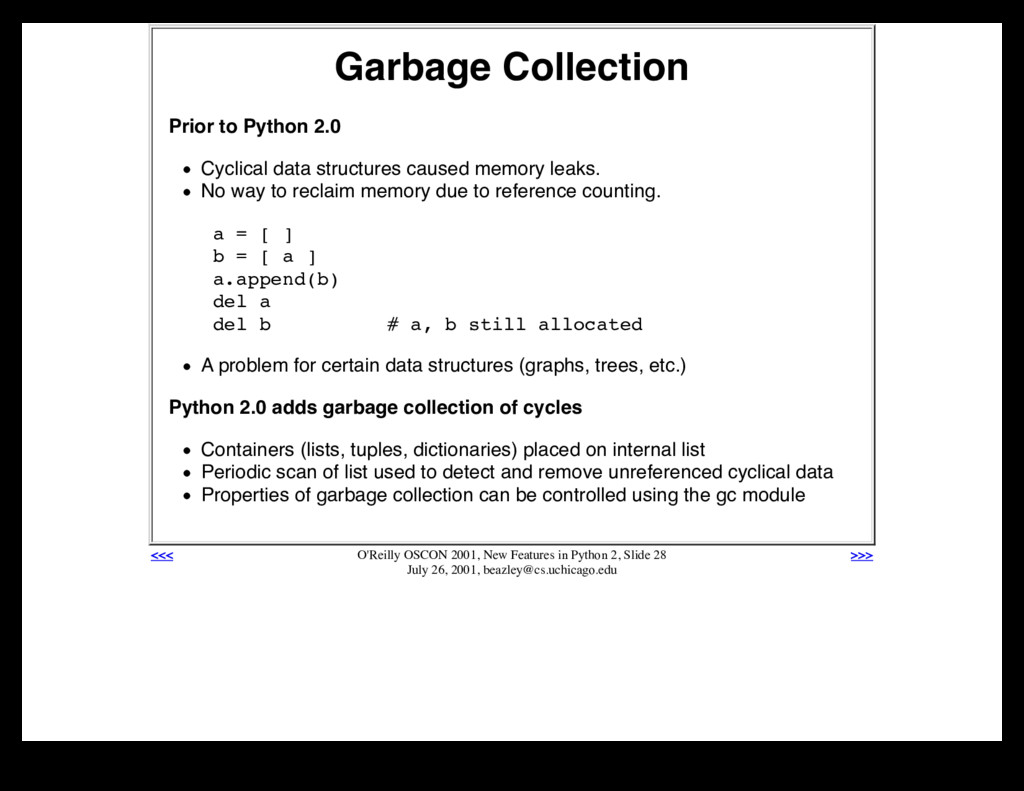 Garbage Collection Prior to Python 2.0 Cyclical...