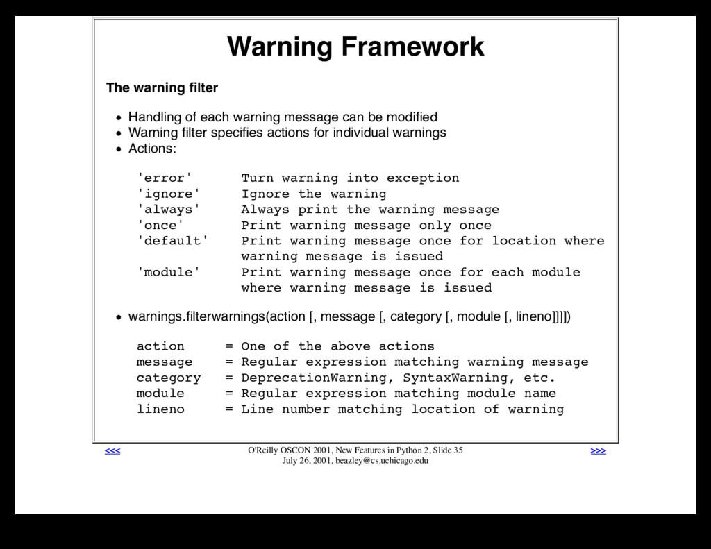 Warning Framework The warning filter Handling of...
