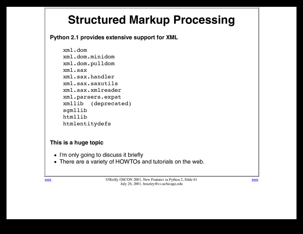 Structured Markup Processing Python 2.1 provide...