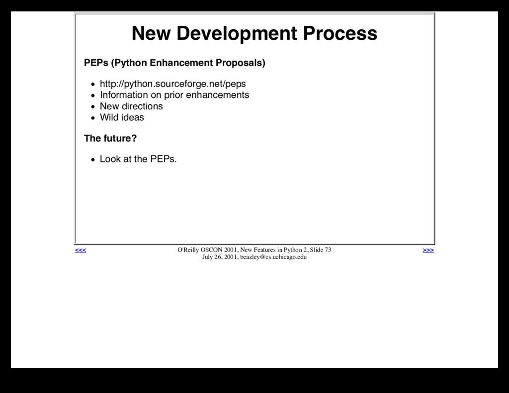 New Development Process PEPs (Python Enhancemen...