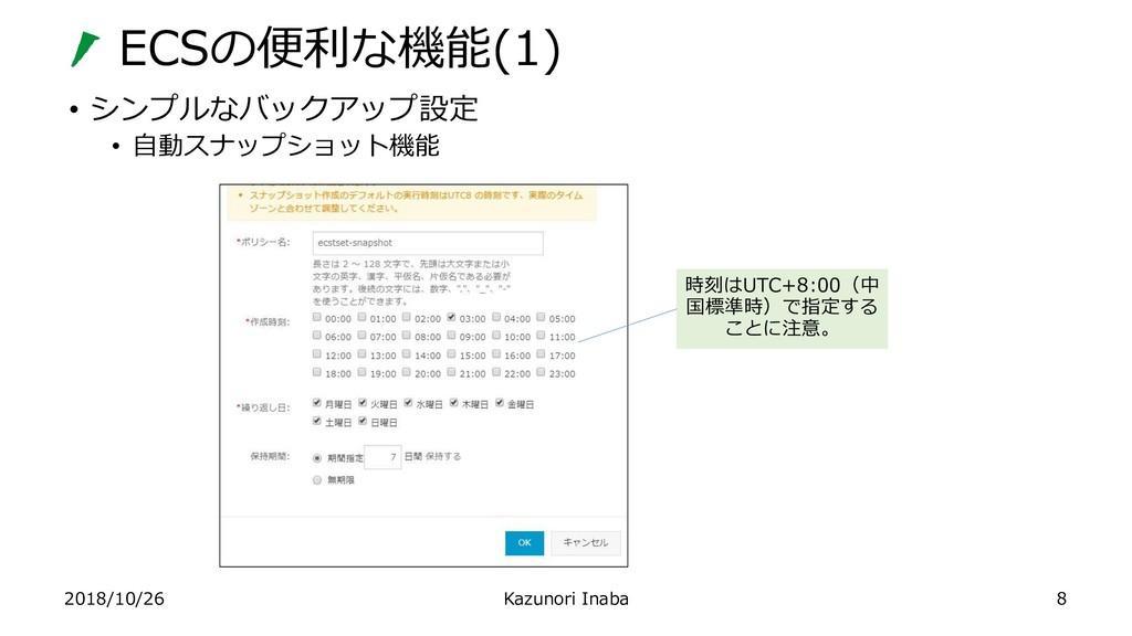 ECSの便利な機能(1) 2018/10/26 Kazunori Inaba • シンプルなバ...