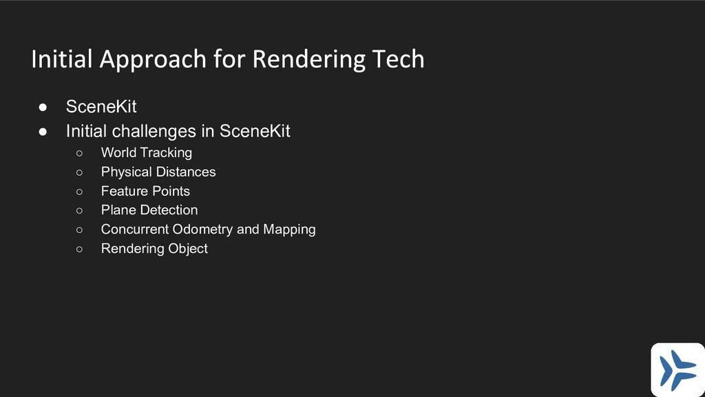 ● SceneKit ● Initial challenges in SceneKit ○ W...