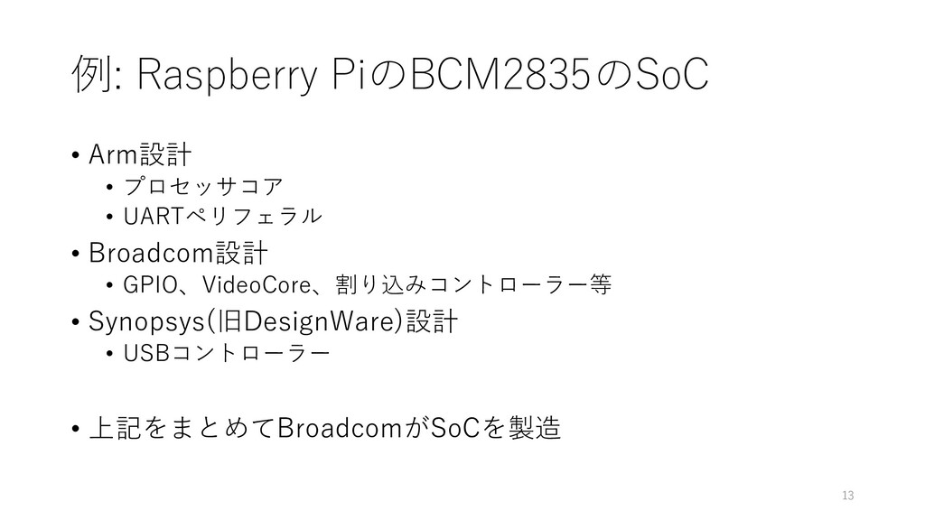 例: Raspberry PiのBCM2835のSoC • Arm設計 • プロセッサコア •...