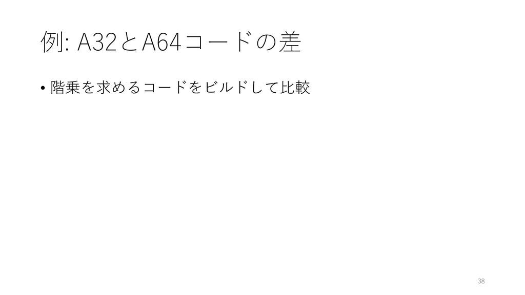 例: A32とA64コードの差 • 階乗を求めるコードをビルドして⽐較 38
