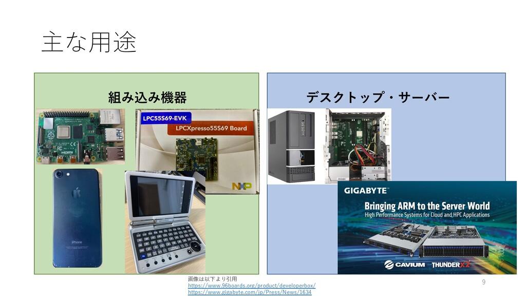 主な⽤途 組み込み機器 デスクトップ・サーバー 画像は以下より引⽤ https://www.9...