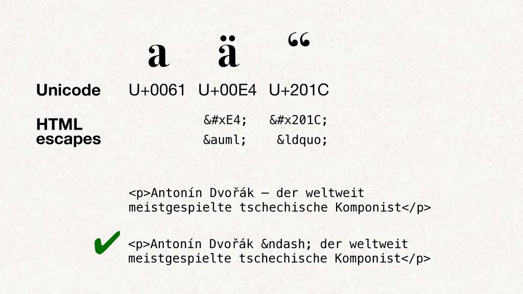 """HTML escapes a ä """" U+0061 U+00E4 U+201C ä ..."""