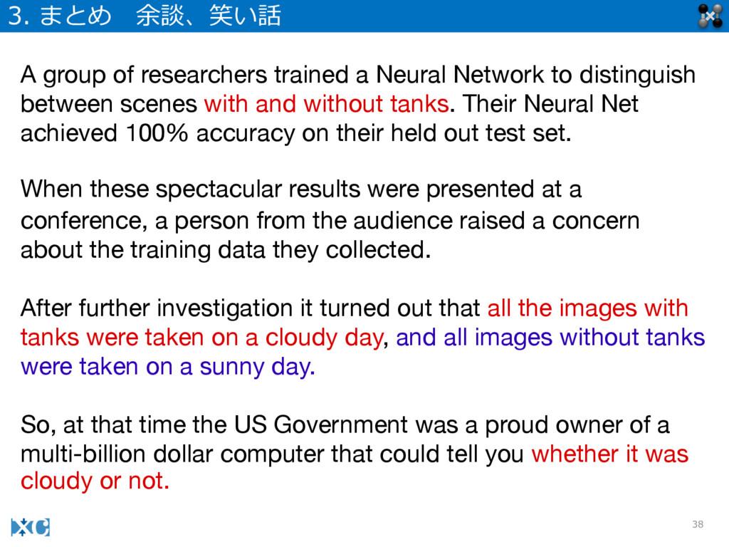 38 3. まとめ 余談、笑い話 A group of researchers traine...