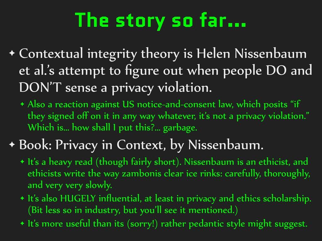 The story so far… ✦ Contextual integrity theory...