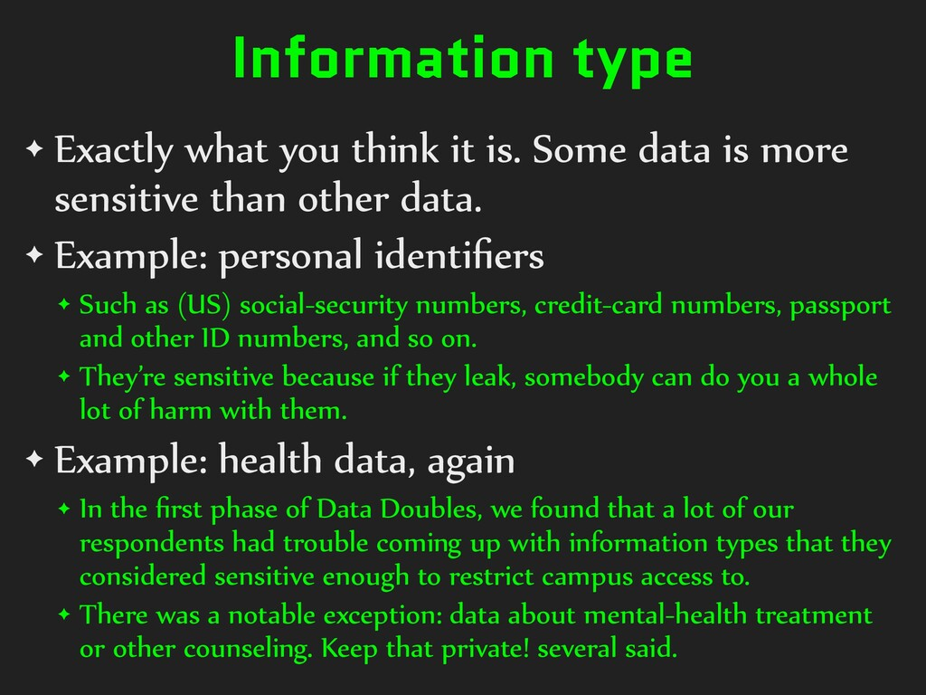 Information type ✦ Exactly what you think it is...