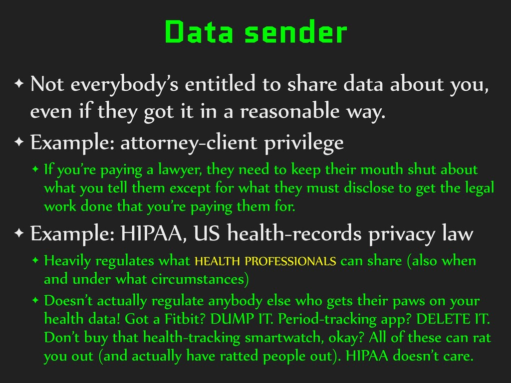 Data sender ✦ Not everybody's entitled to share...