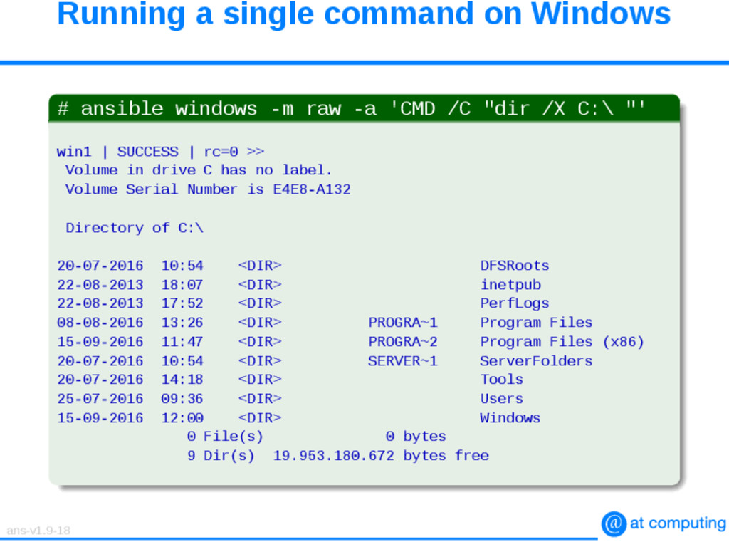 Running a single command on Windows # ansible w...