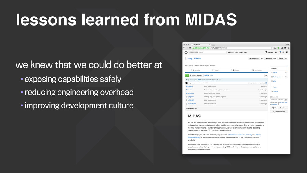 lessons learned from MIDAS we knew that we coul...