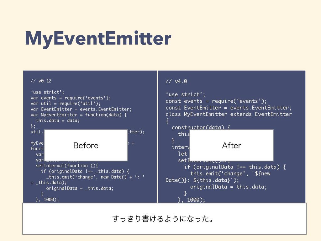 MyEventEmitter // v0.12 'use strict'; var event...