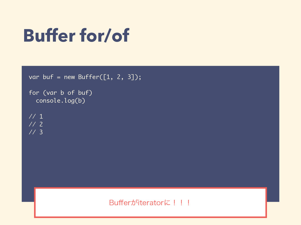 Buffer for/of var buf = new Buffer([1, 2, 3]); ...