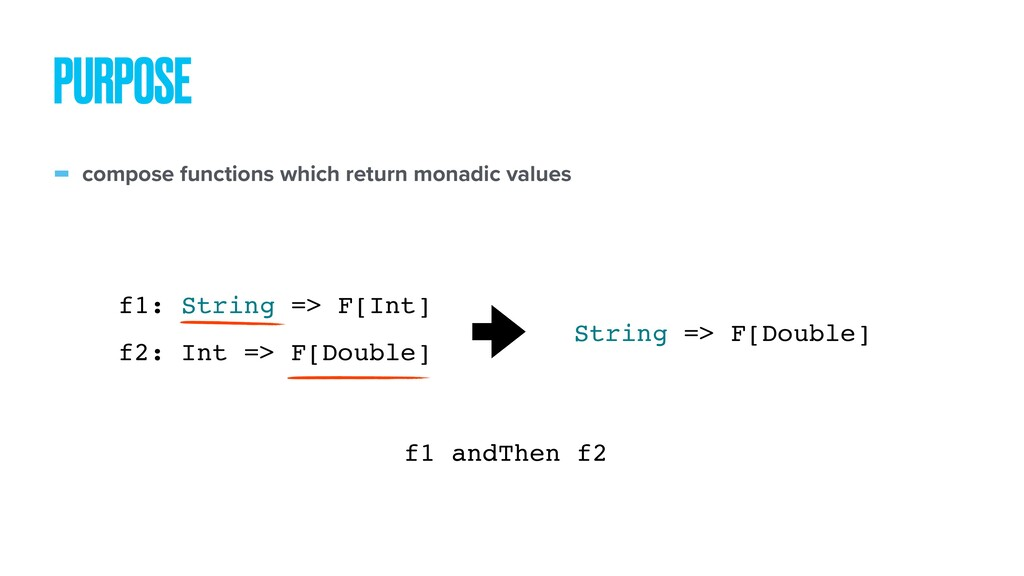 - compose functions which return monadic values...