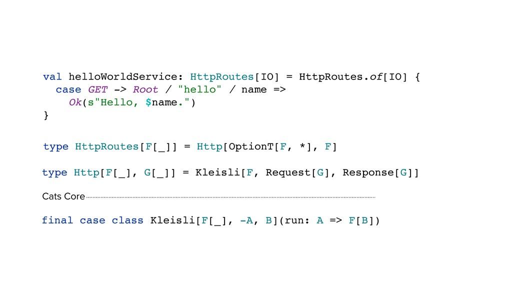 val helloWorldService: HttpRoutes[IO] = HttpRou...