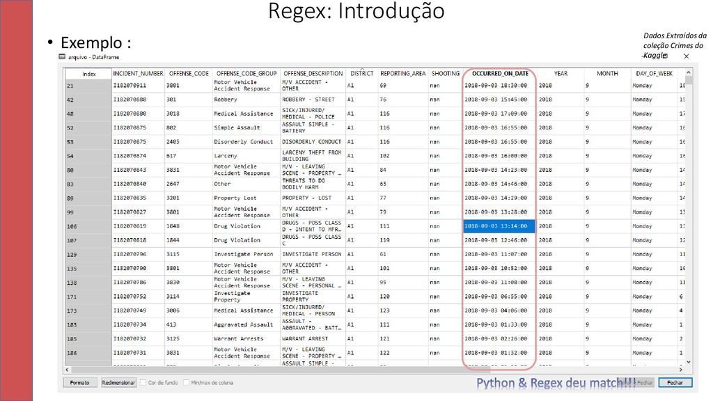 • Exemplo : Regex: Introdução 13 Dados Extraído...