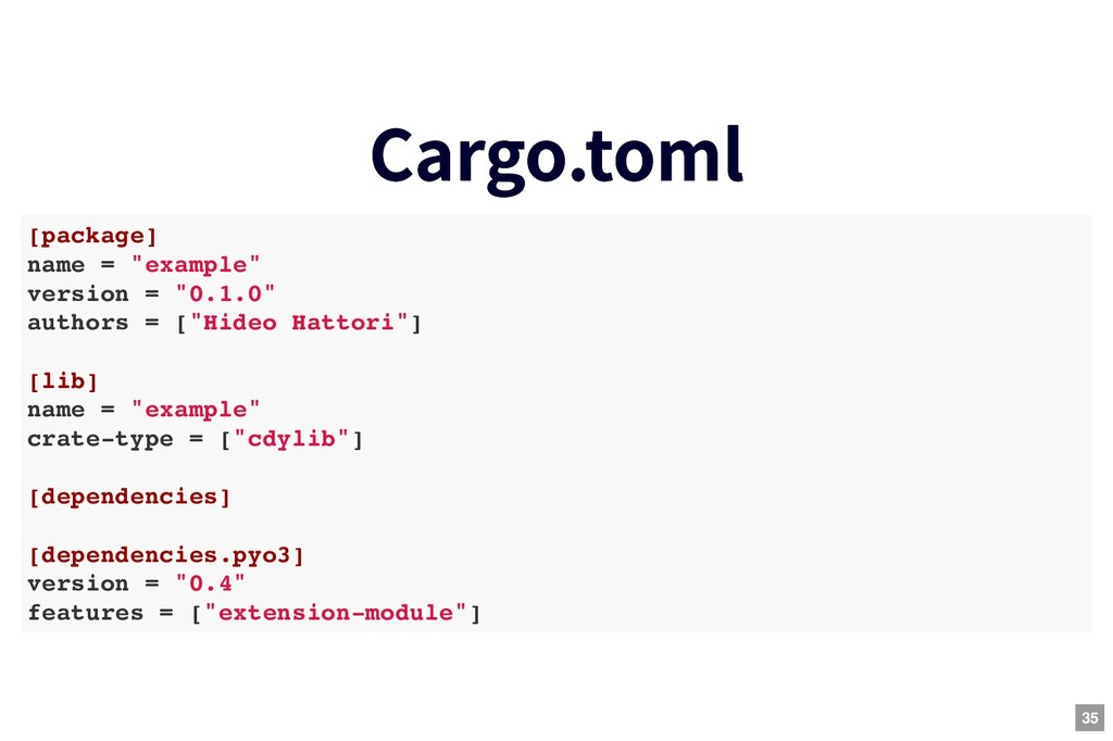 """Cargo.toml Cargo.toml [package] name = """"example..."""