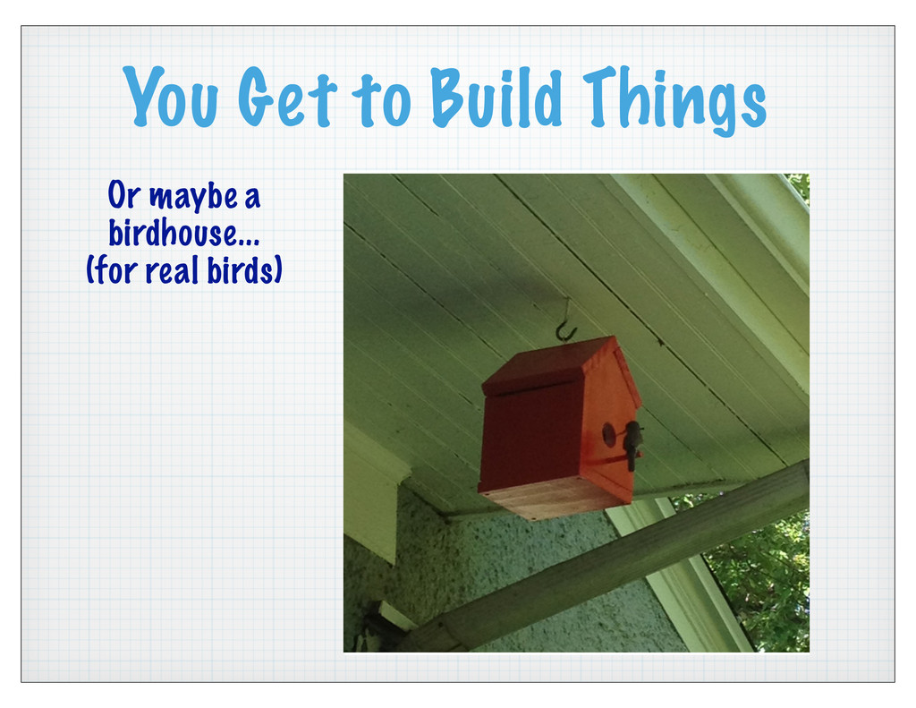 You Get to Build Things Or maybe a birdhouse......