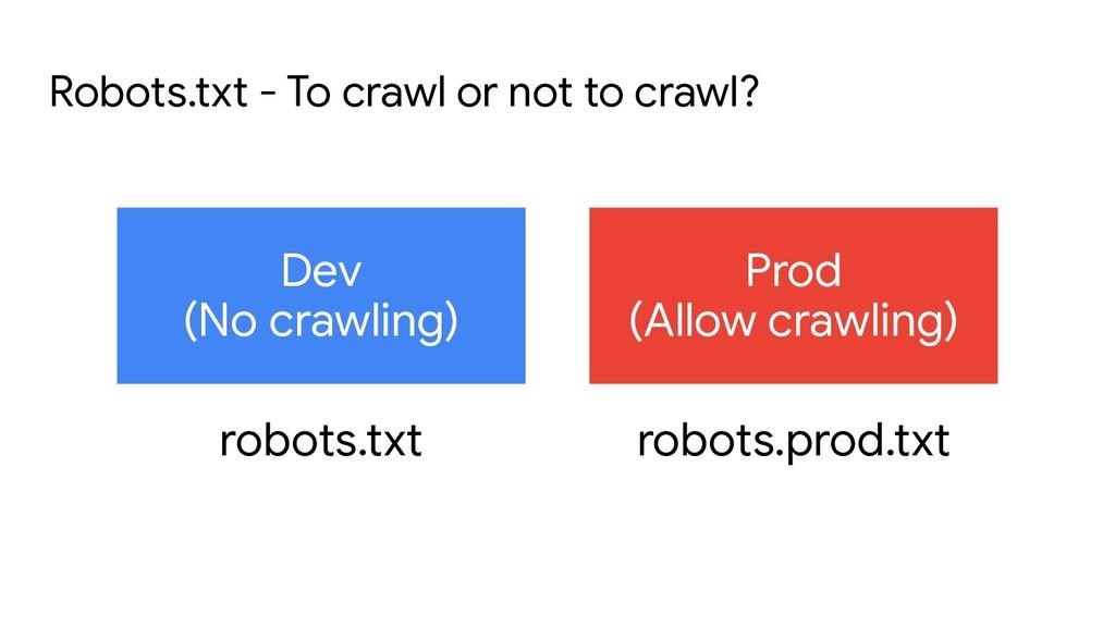 Dev (No crawling) Prod (Allow crawling) Robots....
