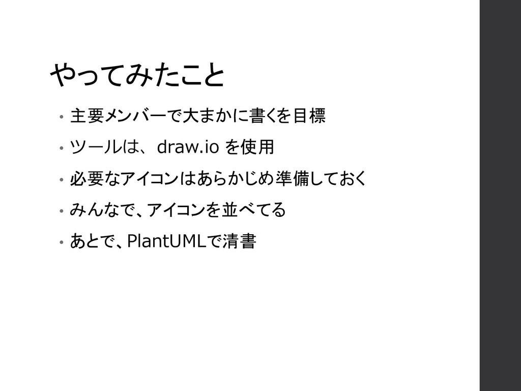 やってみたこと • 主要メンバーで大まかに書くを目標 • ツールは、draw.io を使用 •...