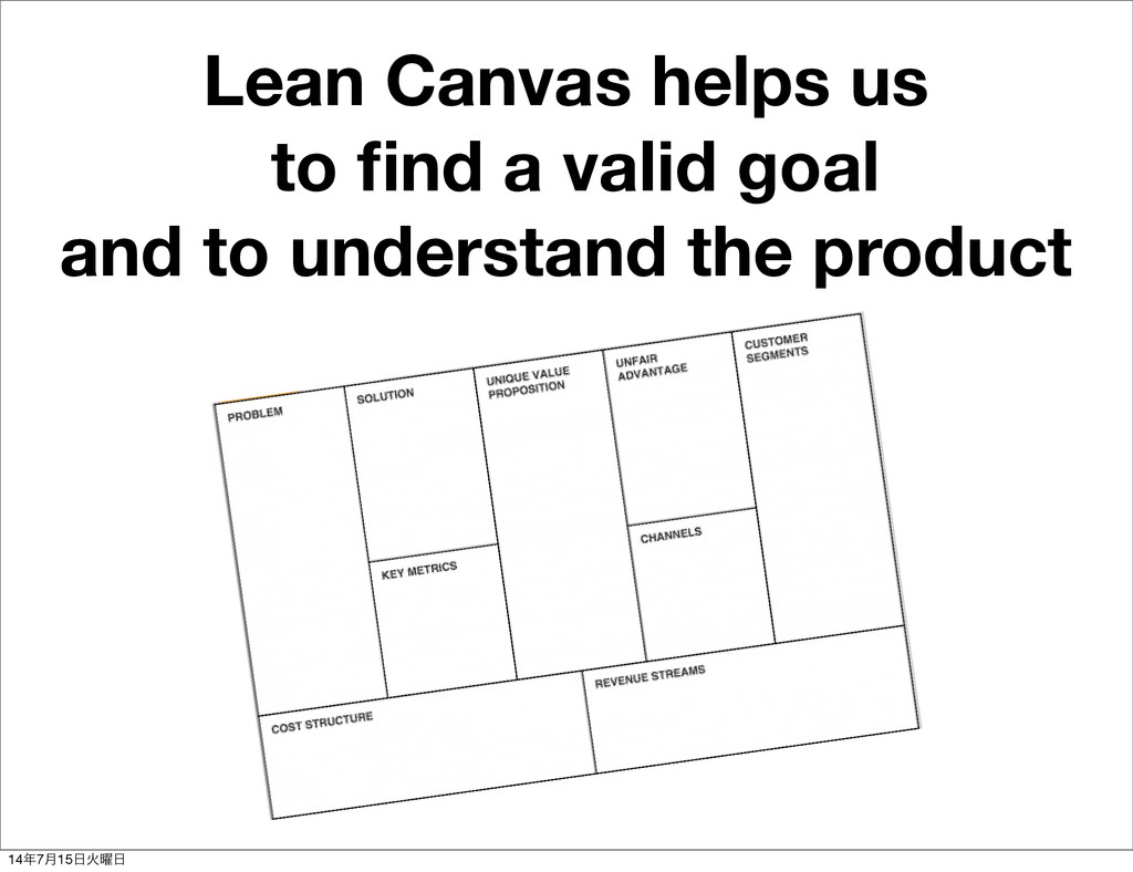 Lean Canvas helps us to find a valid goal and to...
