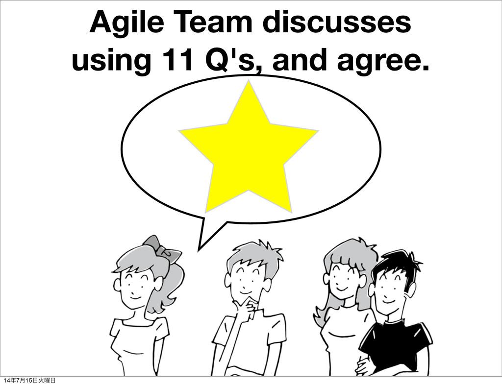 Agile Team discusses using 11 Q's, and agree. 1...