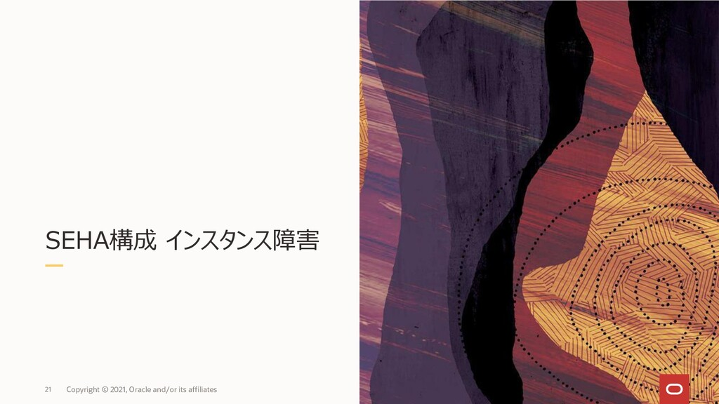 SEHA構成 インスタンス障害 21 Copyright © 2021, Oracle and...