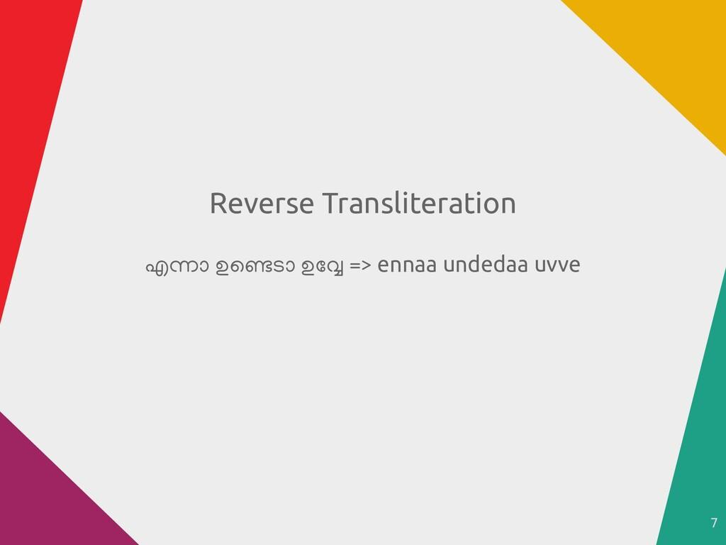7 Reverse Transliteration എന്നാ ഉണ്ടെ ടാ ഉവ്വേ ...