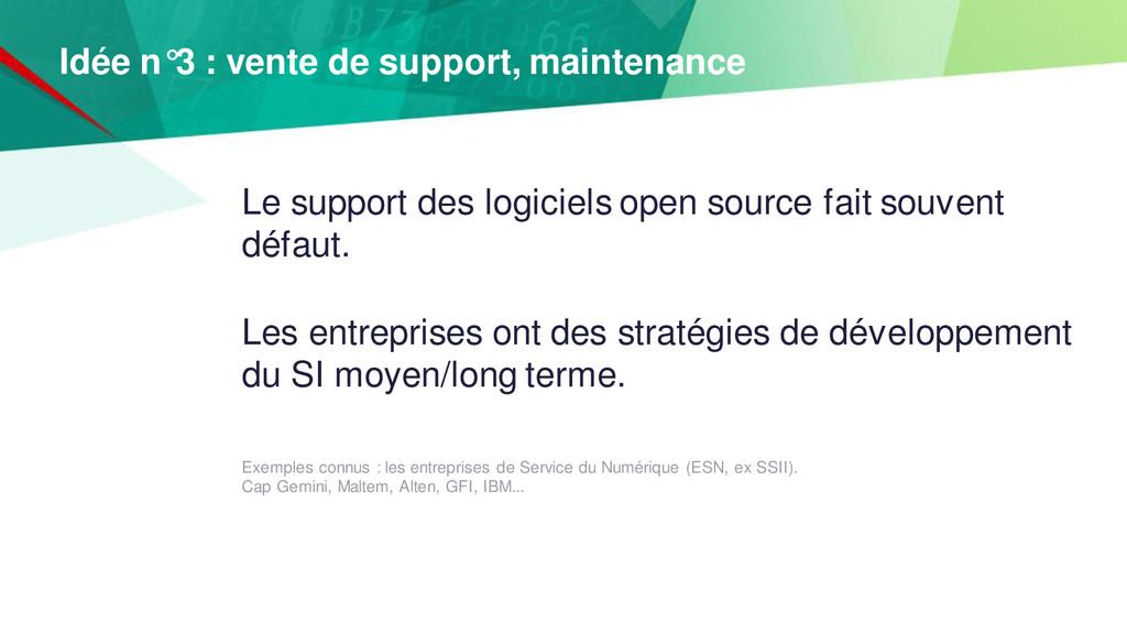 Le support des logiciels open source fait souve...