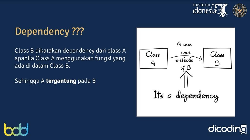 Dependency ??? Class B dikatakan dependency dar...