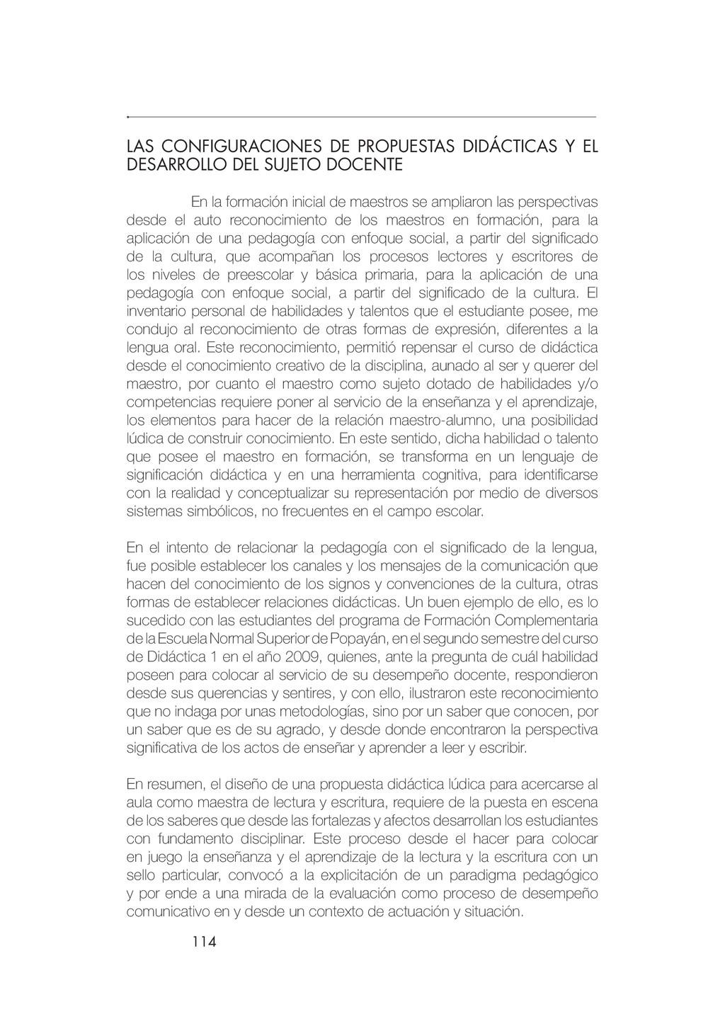 114 LAS CONFIGURACIONES DE PROPUESTAS DIDÁCTICA...