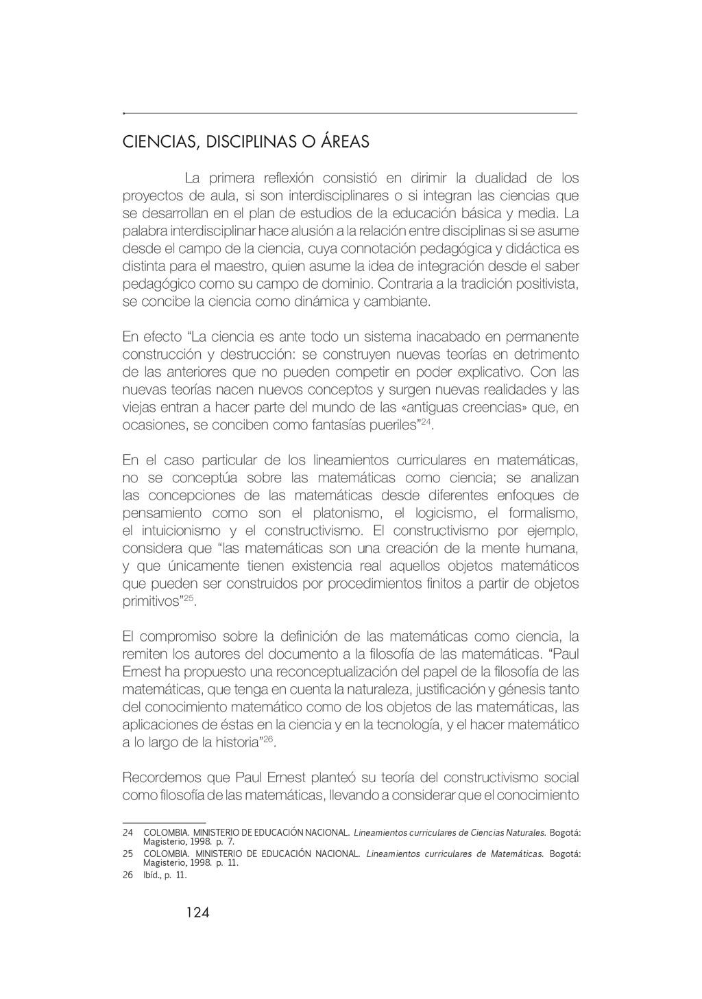 124 CIENCIAS, DISCIPLINAS O ÁREAS La primera re...