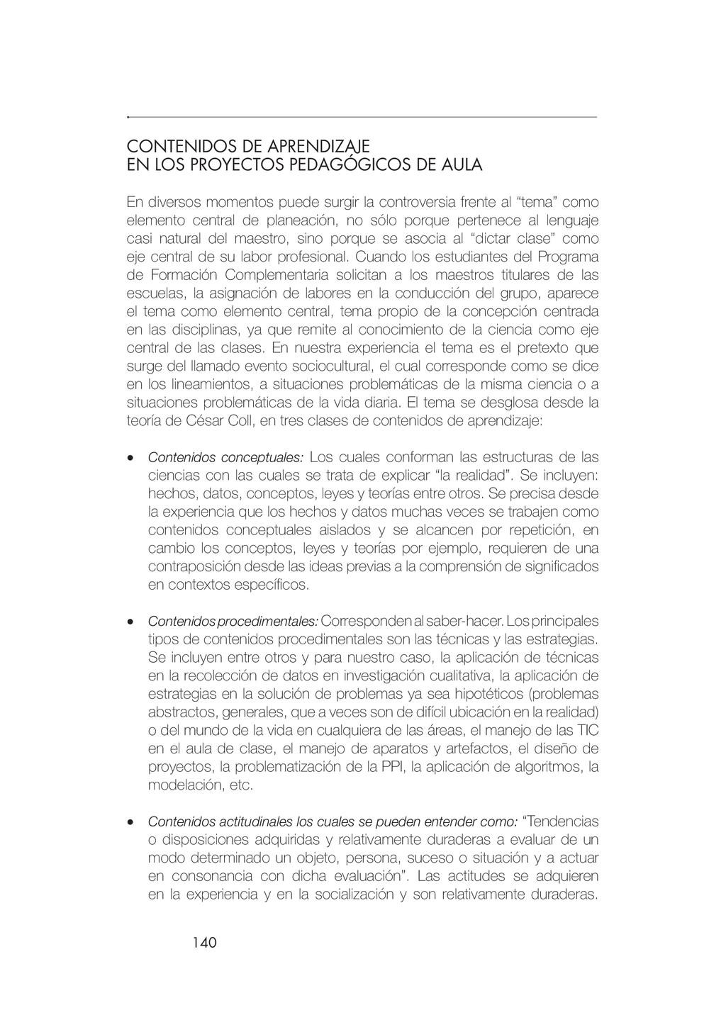 140 CONTENIDOS DE APRENDIZAJE EN LOS PROYECTOS ...