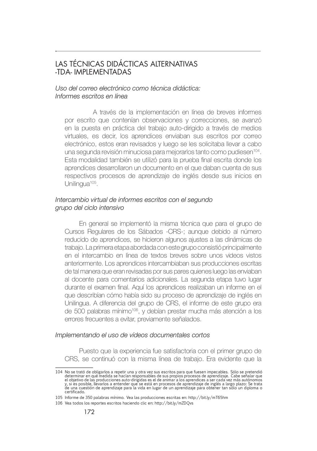 172 LAS TÉCNICAS DIDÁCTICAS ALTERNATIVAS -TDA- ...